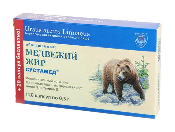 Медвежий жир обогащенный 120 капс, х 0,3 г Сустамед