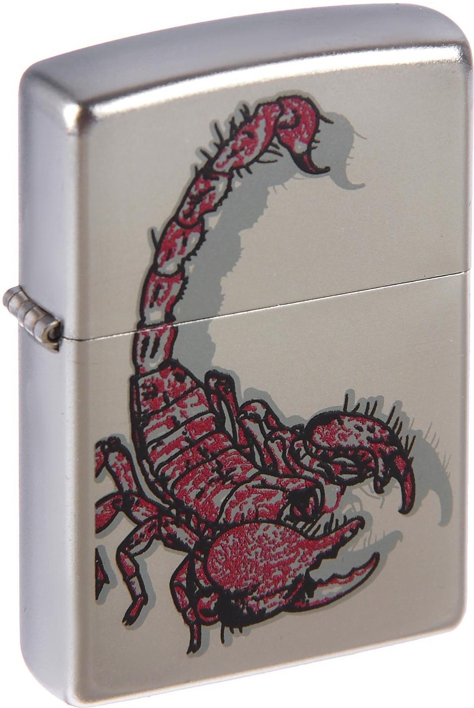 Зажигалка Zippo №205 Scorpion Color Satin Chrome