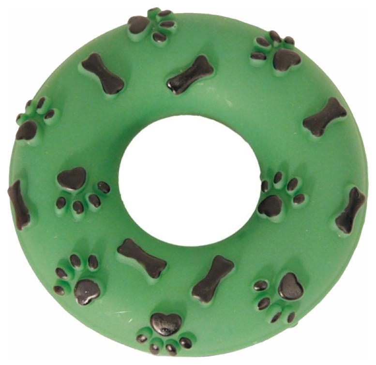 Жевательная игрушка для собак Triol Кольцо с лапками и косточками из винила зеленое, 14 см