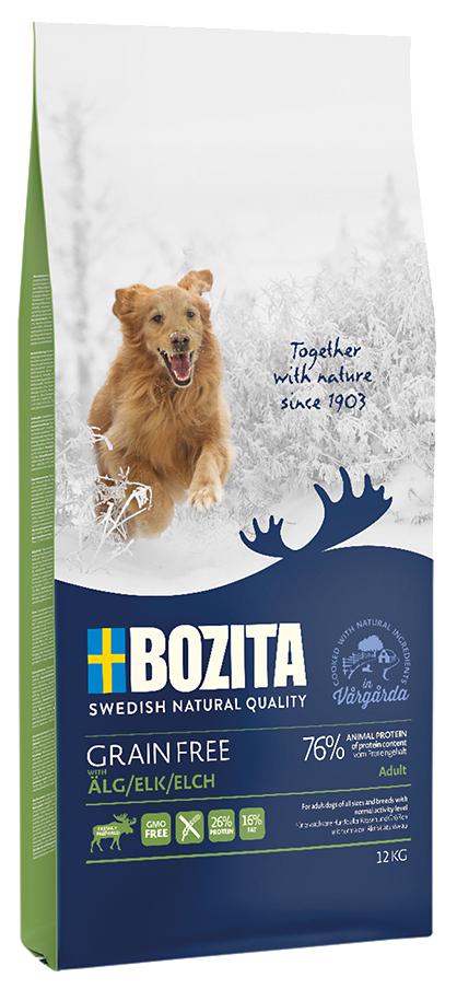 Сухой корм для собак BOZITA Grain Free, беззерновое, лось, 12кг