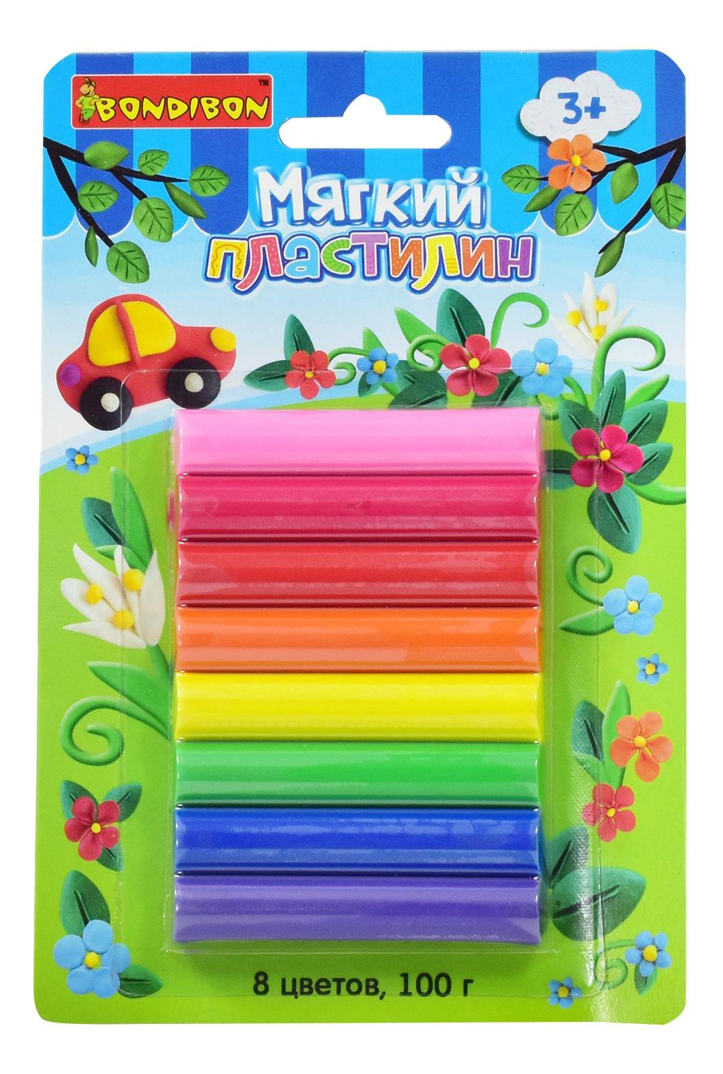 Купить Пластилин 8 цветов, Набор для лепки из пластилина Bondibon Пластилин 8 цветов,