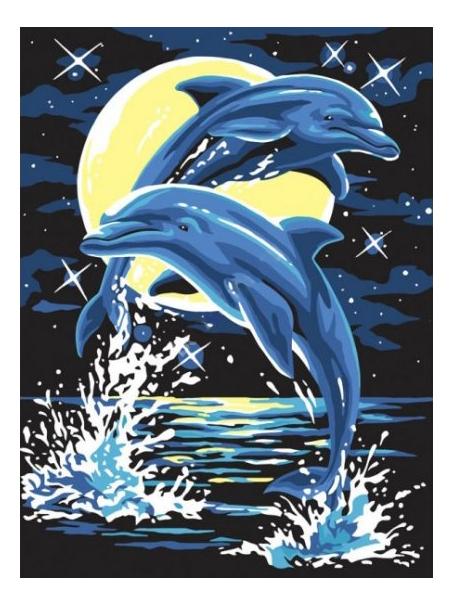 Раскраска по номерам Белоснежка Дельфины