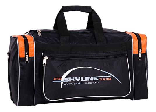 Дорожная сумка Polar 6007 черная/оранжевая 54 x 21 x 27 фото