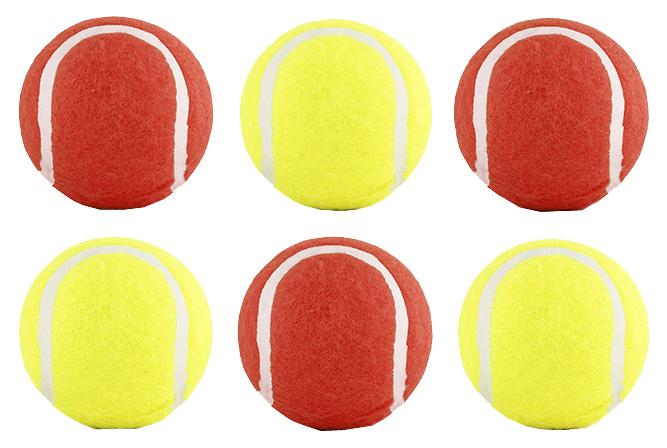 Апорт для собак Beeztees Мячик теннисный желтый красный 6.5 см 6 шт.
