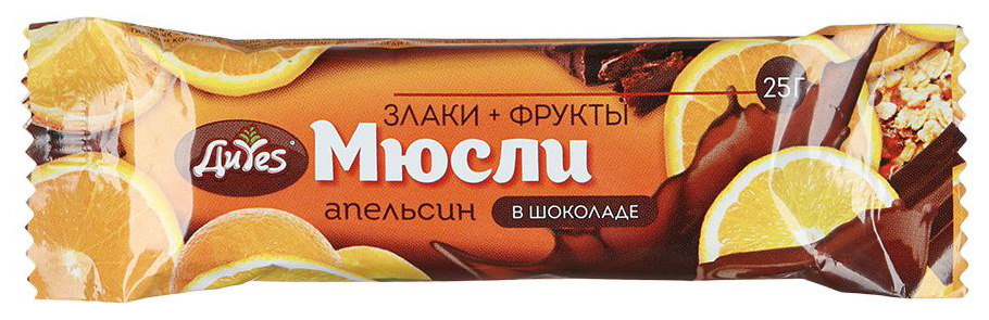 Батончик-мюсли ДиYes апельсин в шоколаде 25 г