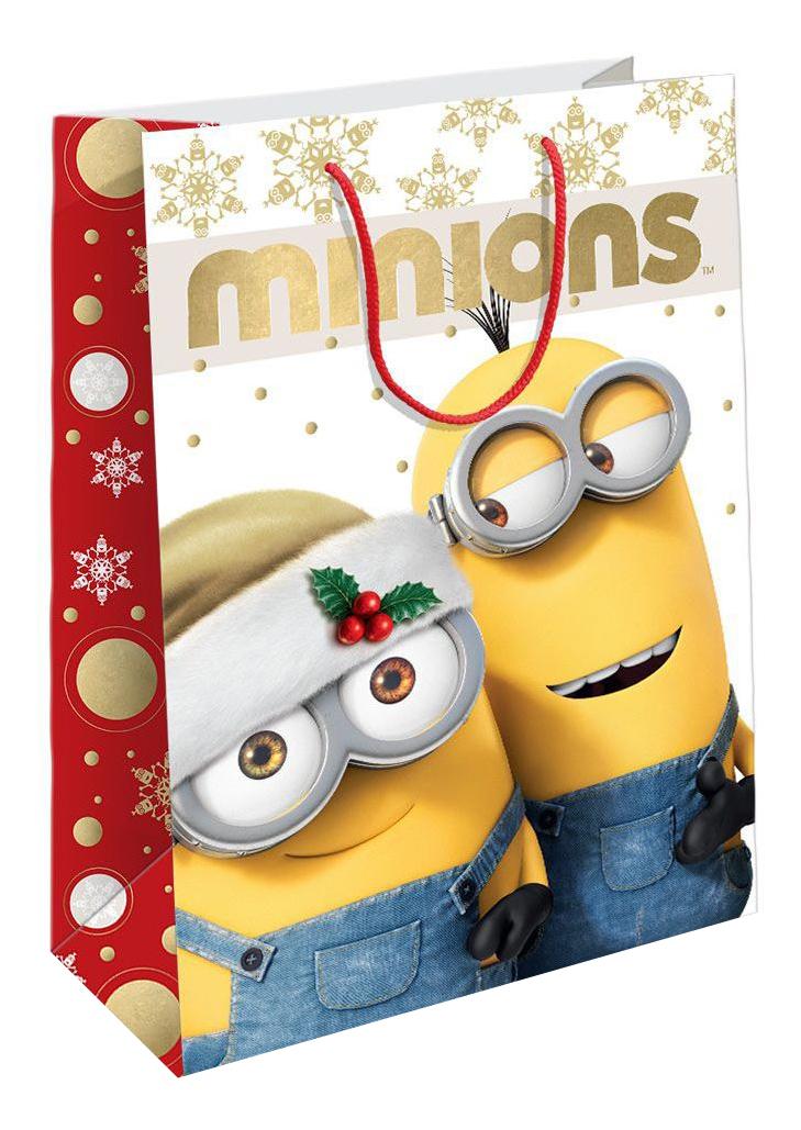Пакет подарочный РОСМЭН 23х18х10 см Рождество Миньонов