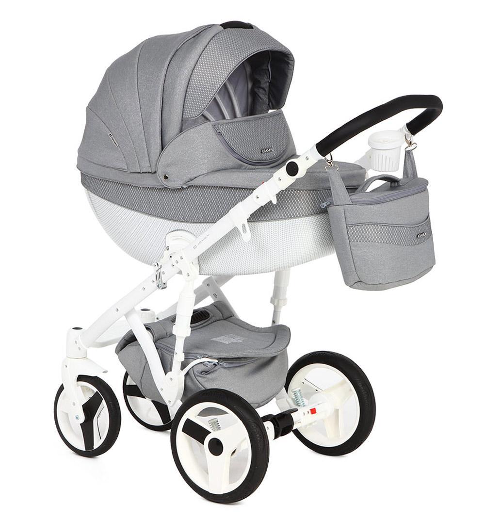 Купить Коляска 2 в 1 Adamex Monte Carbon серая с принтом GL000649985, Детские коляски 2 в 1