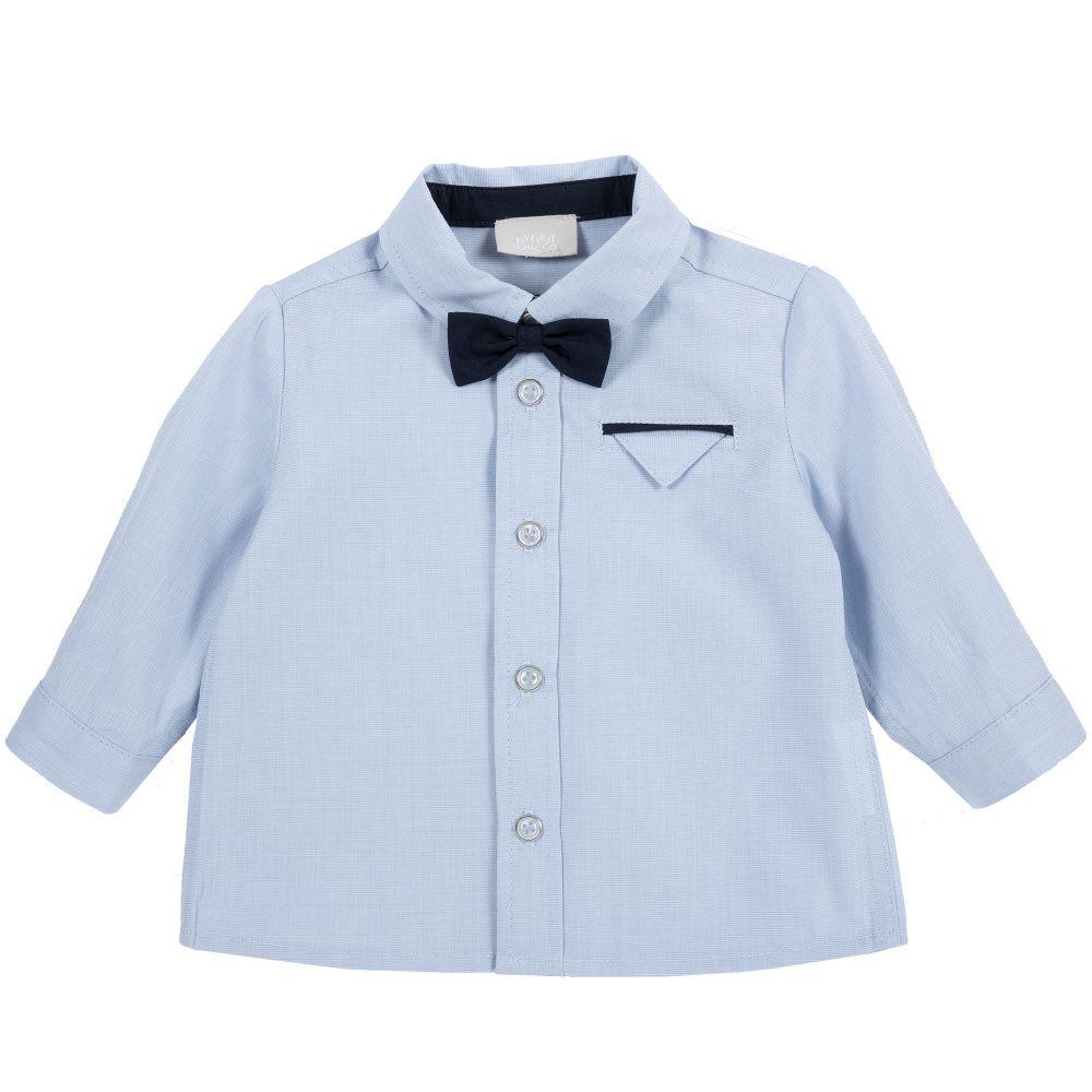 Купить 9054411, Рубашка Chicco с черной бабочкой р.086 цвет синий, Кофточки, футболки для новорожденных