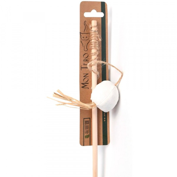 Игрушка для кошек Mon Tero ЭКО, удочка-дразнилка, шар с мятой, 42/5 см