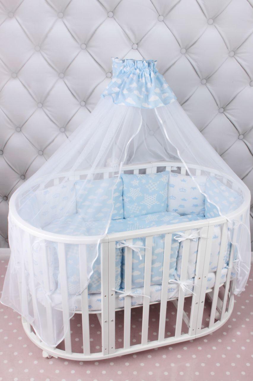 Купить Комплект в кроватку 19 предметов AmaroBaby ВОЗДУШНЫЙ (голубой, бязь), Комплекты детского постельного белья