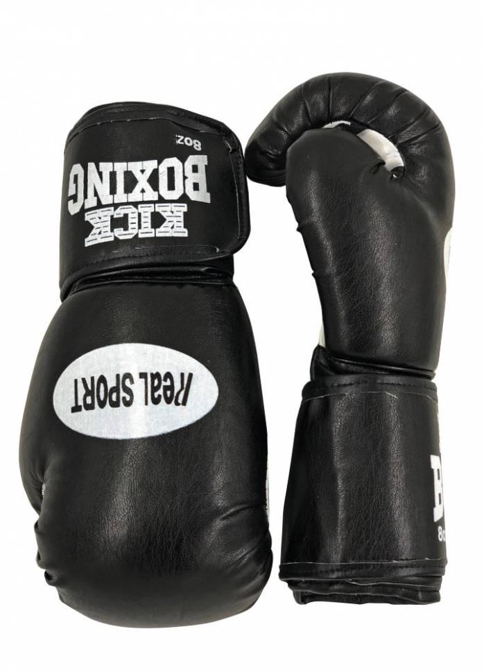 Перчатки для кикбоксинга RealSport RS312 черные 12 унций фото