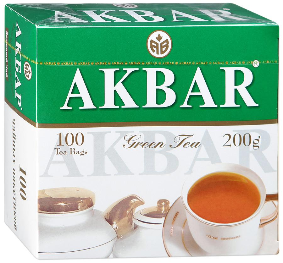 Чай зеленый Akbar green китайский 100 пакетиков фото
