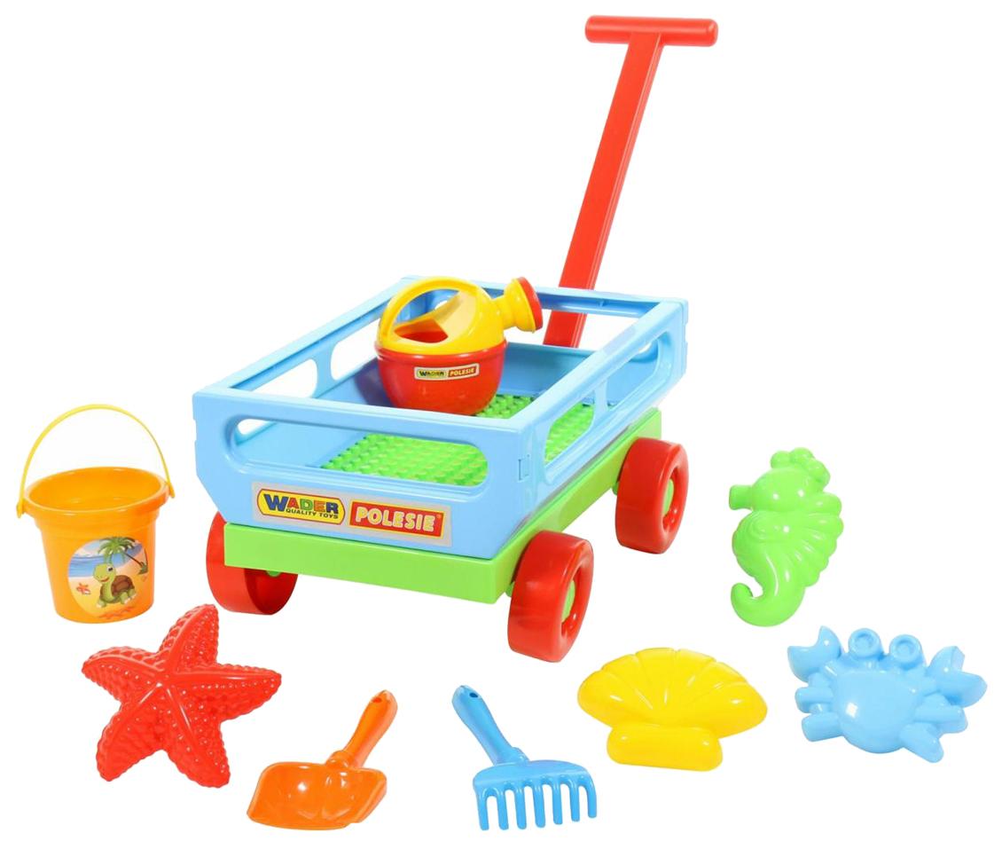 Купить Летние товары, Набор песочный Wader Тележка, ведро, лопатка, грабельки и формочки, Песочные наборы