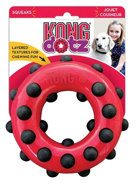 Жевательная игрушка для собак KONG Dotz кольцо малое, красный, черный, длина 9 см
