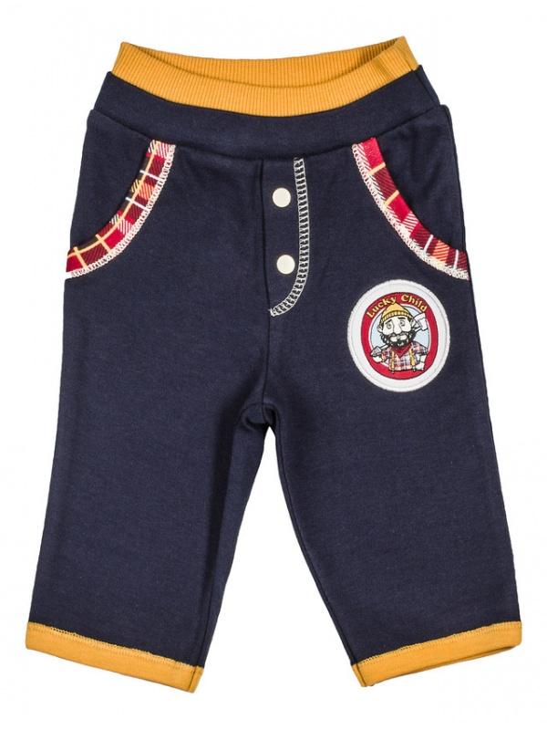 Купить 27-11Ф, Брюки Lucky Child темно-синий р.68, Детские брюки и шорты