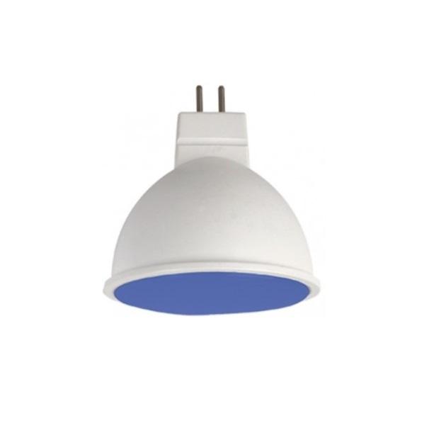 Лампа светодиодная Ecola MR16 GU5,3 220V 7W, 47x50, матовое стекло, синий, M2TB70ELC