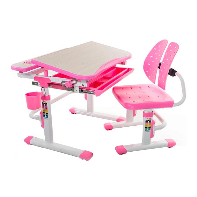 Детская парта с регулировкой высоты и стулом Mealux EVO-05 клен, розовый,