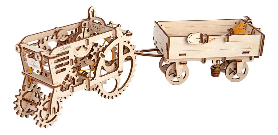 Сборная модель конструктор UGEARS Прицеп к трактору фото