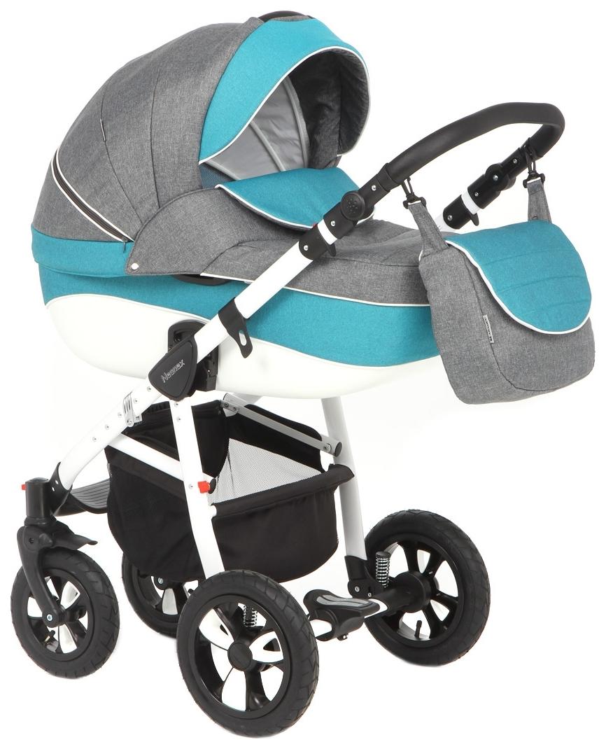 Купить Коляска 2 в 1 Adamex Neonex (серый, молочный, голубой TIP8B), Детские коляски 2 в 1