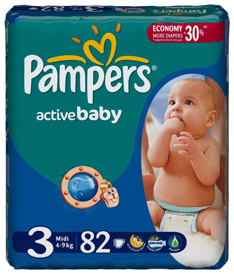 Купить Подгузники Pampers Active Baby-Dry Midi 4 (4-9 кг), 82 шт.,