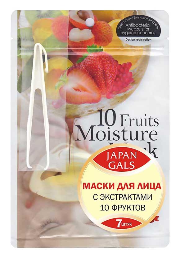 Маска для лица Japan Gals с экстрактами 10 фруктов Pure 5 Essential 7 шт