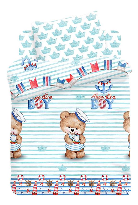 Купить Непоседа детский бязь Непоседа КДН-1 Мишка морячок, Комплект детского постельного белья Непоседа Бязь КДН-1 Мишка морячок, Комплекты детского постельного белья