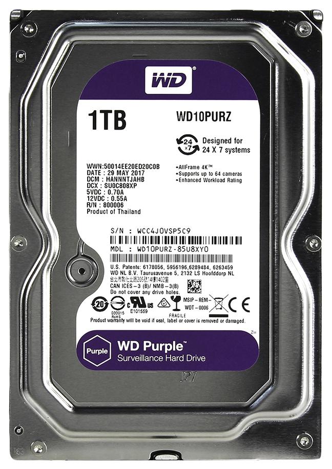 Внутренний жесткий диск Western Digital Purple 1TB (WD10PURZ) фото