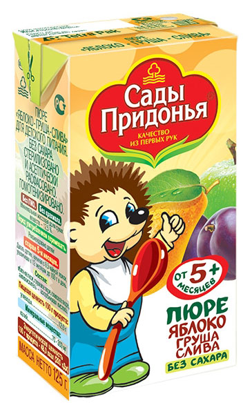 Купить Яблоко, груша, слива 125 г, Пюре фруктовое Сады Придонья Яблоко, слива c 5 мес 125 г, Детское пюре