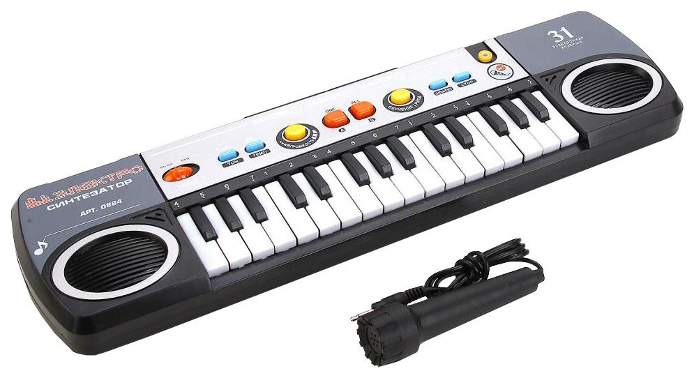 Купить Синтезатор с микрофоном на батарейках, Электросинтезатор игрушечный Shantou Gepai Play Smart Синтезатор с микрофоном, PLAYSMART, Детские музыкальные инструменты