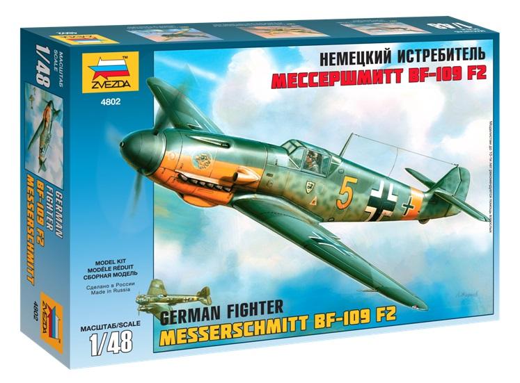 Купить Модель для сборки немецкий истребитель мессершмитт bf 109 f 2 1:48 Zvezda 4802,