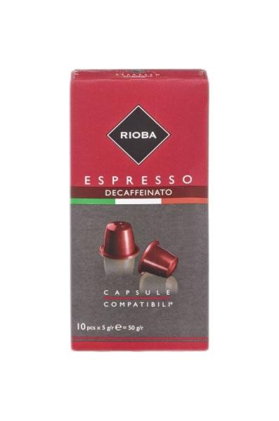 Кофе в капсулах Rioba espresso deaffeinato молотый итальянский 10 капсул
