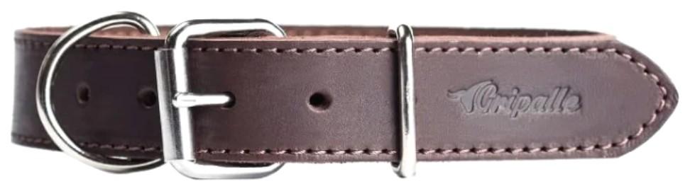 Ошейник для собак Gripalle Дакс, кожаный, стальная фурнитура, коричневый, 35мм х 45см
