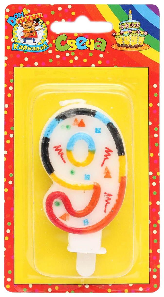 Купить Свеча для торта на подставке Цифра 9 , разноцветная Миленд, Свечи праздничные