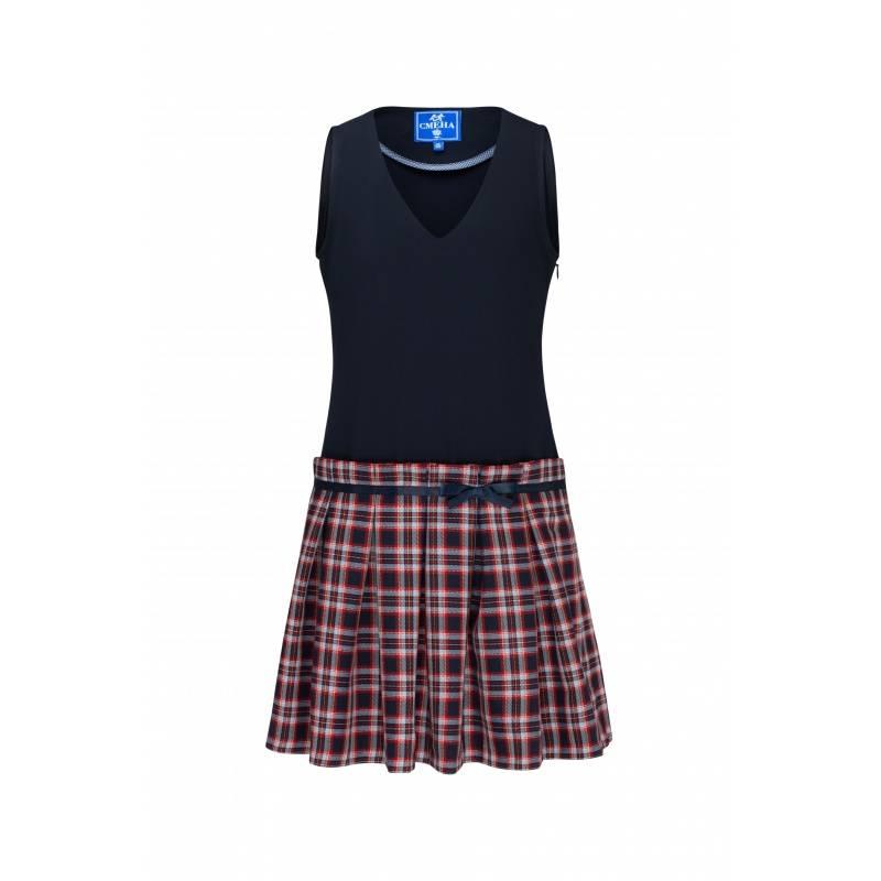 Купить Сарафан Смена, цв. синий, 122 р-р, Детские платья и сарафаны