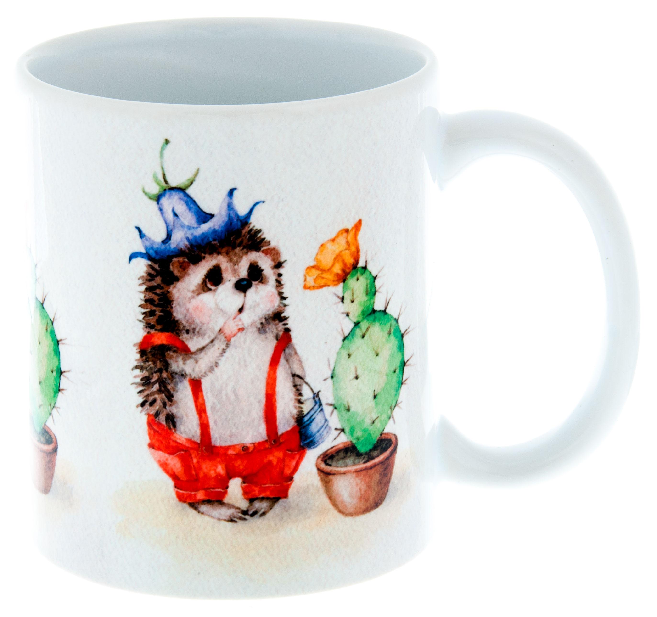 Керамическая кружка 3Dollara Ежик с кактусом. MUG0198