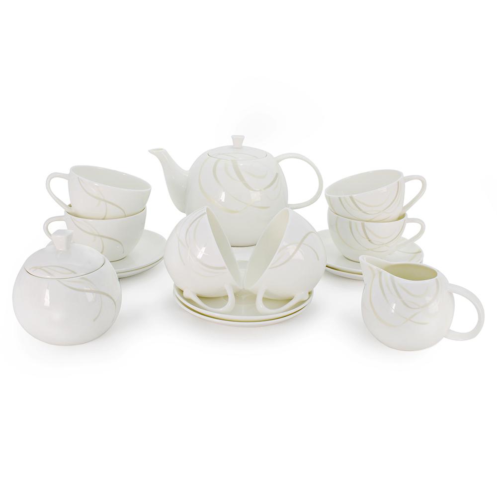 Чайный сервиз АККУ Элегия 15 предметов на 6 персон костяой фарфор
