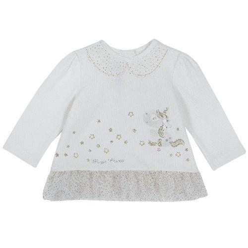 Купить 9006799, Лонгслив Chicco Единорог для девочек р.74 цв.белый, Кофточки, футболки для новорожденных