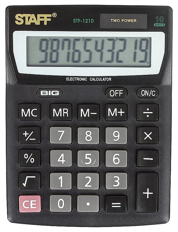 Калькулятор Staff STF-1210, 10 разрядов, двойное питание, 140х105 мм