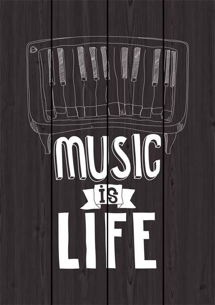Картина на доске 60x90 Music is Life Ekoramka DE-104-565