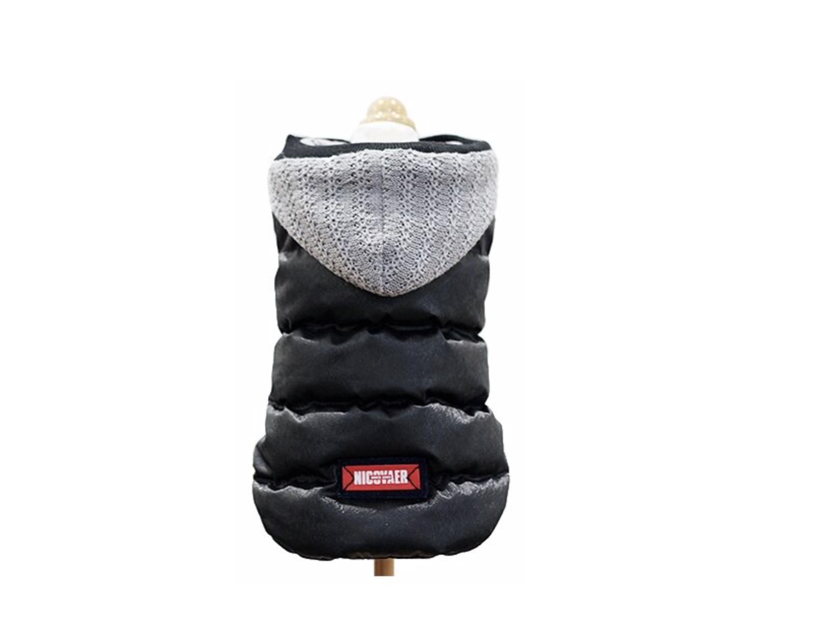 Куртка для собак и кошек Nicovaer с капюшоном непромокаемая, черная, S фото
