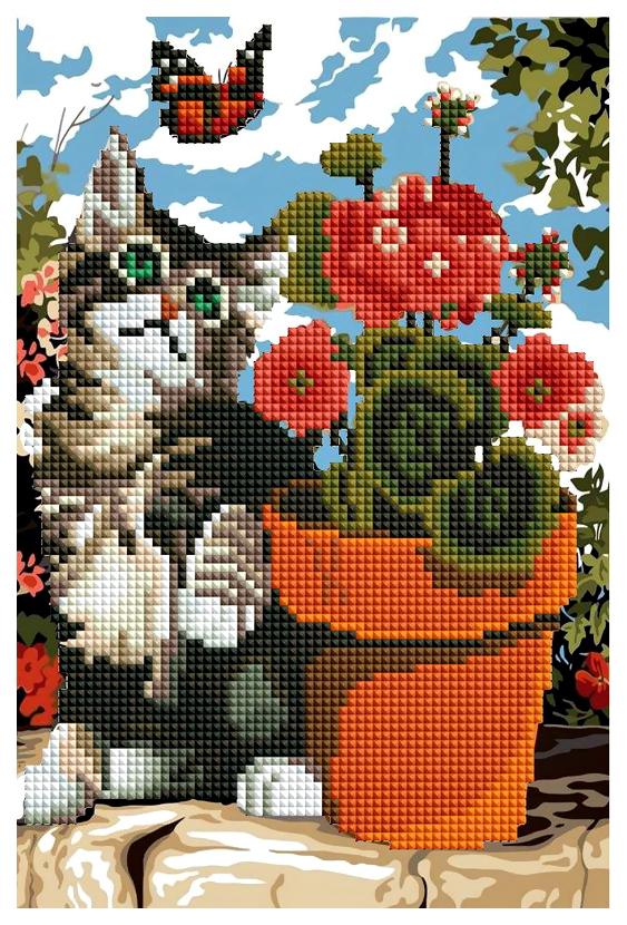 Купить Мозаики Рыжий кот ACF020 Котенок и цветок 20x30 без подрамника 28 цветов