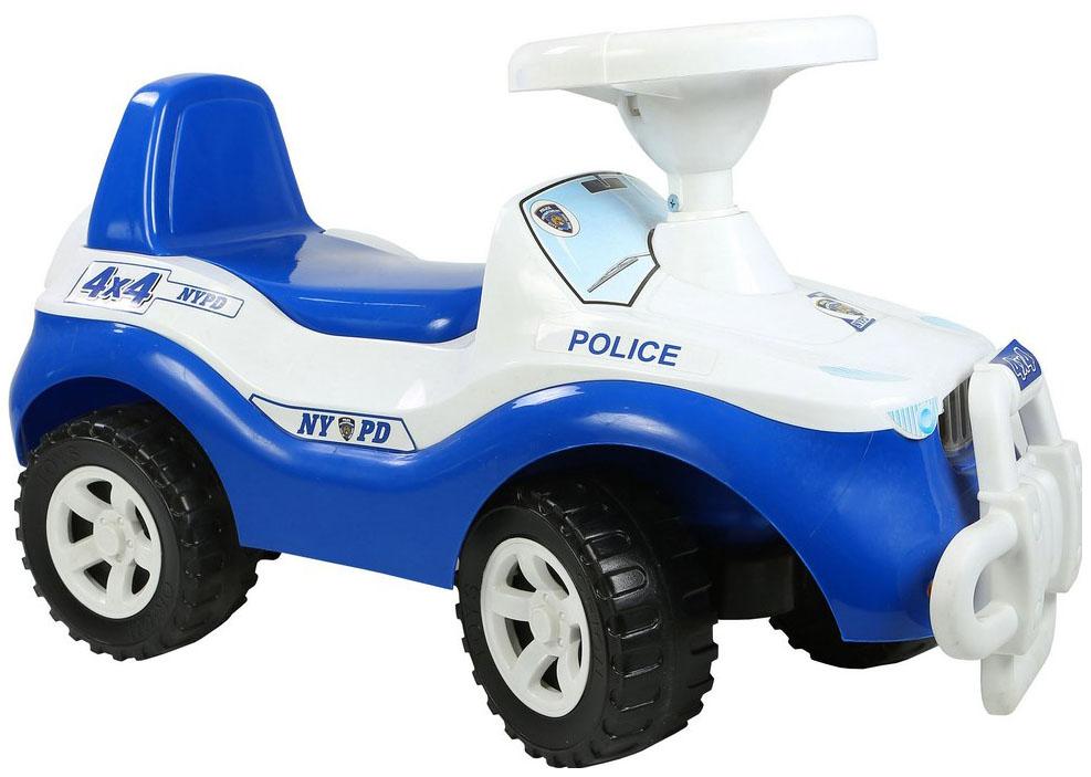 Каталка детская RT машинка Джипик POLICE с клаксоном бело-синяя