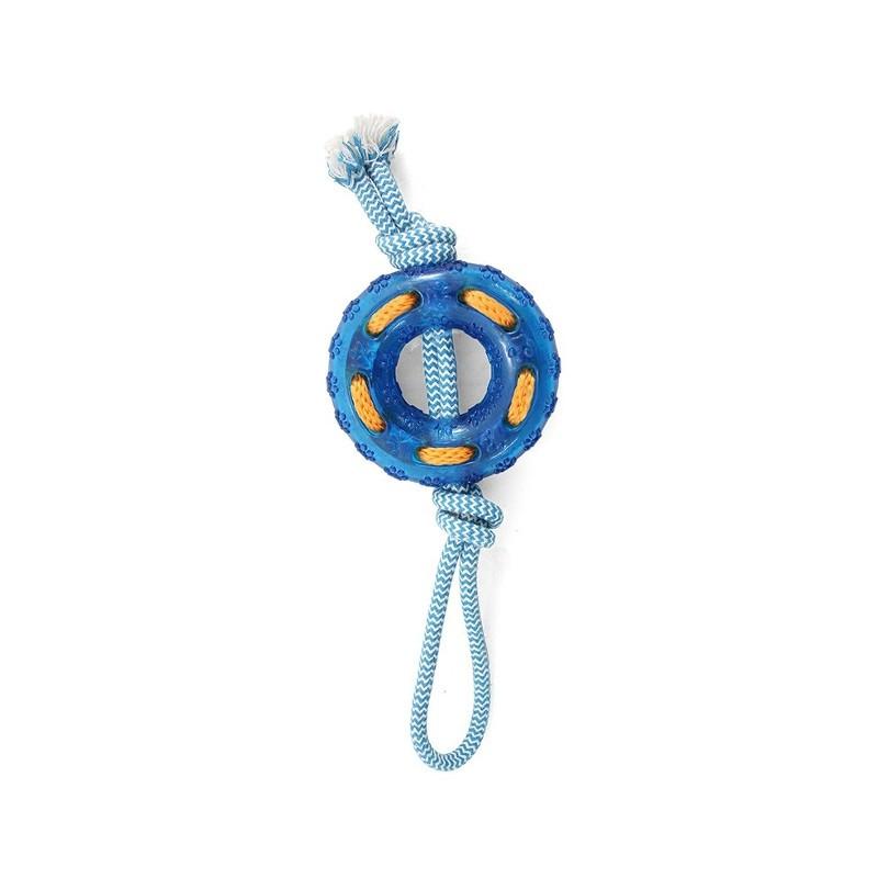 Жевательная игрушка для собак Triol Кольцо с веревкой, голубой, 32 см