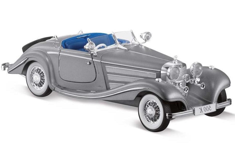 Машинка Maisto 1:18 Mercedes-Benz 500 K Special Roadster год 1934-1936, серебряный, Коллекционные модели  - купить со скидкой