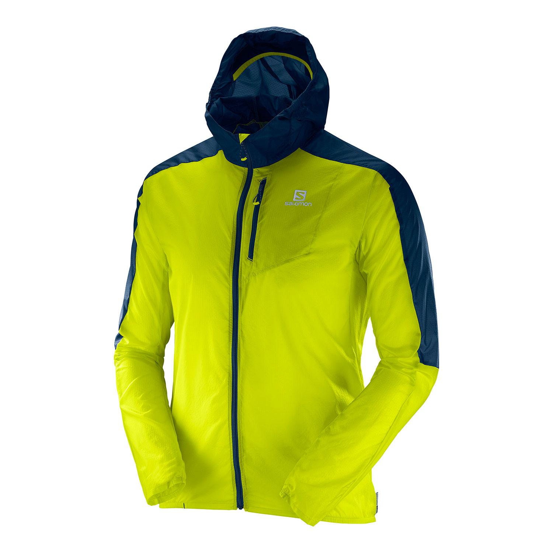 Спортивная куртка мужская Salomon Fast Wing Hoodie, lime punch/vintage, L