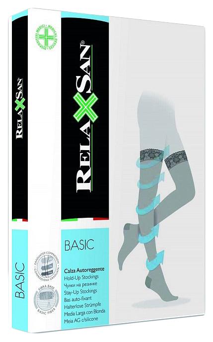 Чулки компрессионные Relaxsan stay-up 140 den размер 3 на резинке телесные