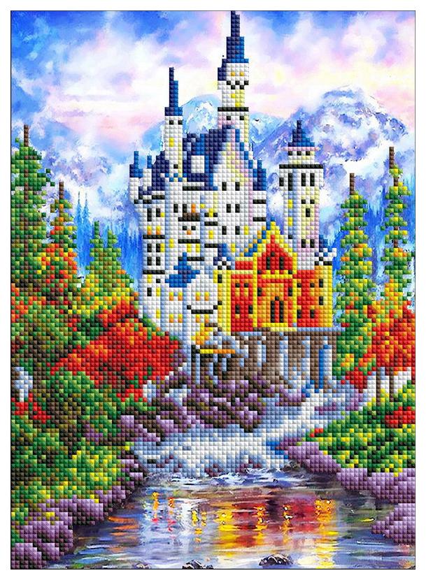 Купить Алмазная Мозаика Рыжий Кот Блестящая Германия Замок Нойшванштайн 20х30 см, Рыжий кот, Мозаики
