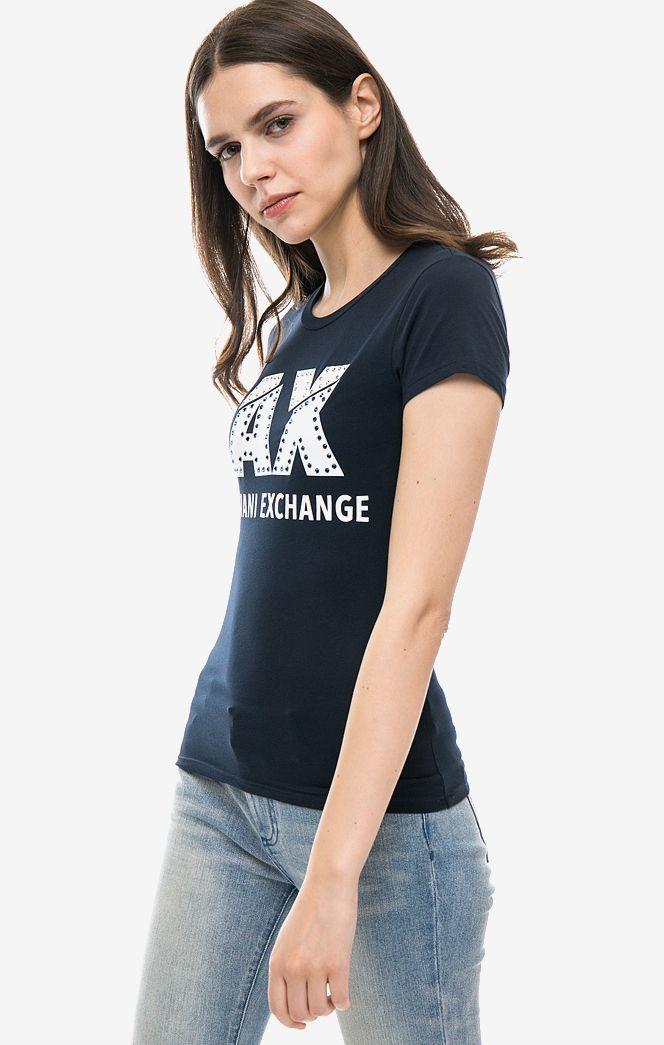 Футболка женская Armani Exchange 1552451 синяя/белая XS фото