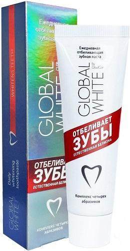 Зубная паста GLOBAL WHITE Отбеливающая для чувствительных зубов, 100 мл