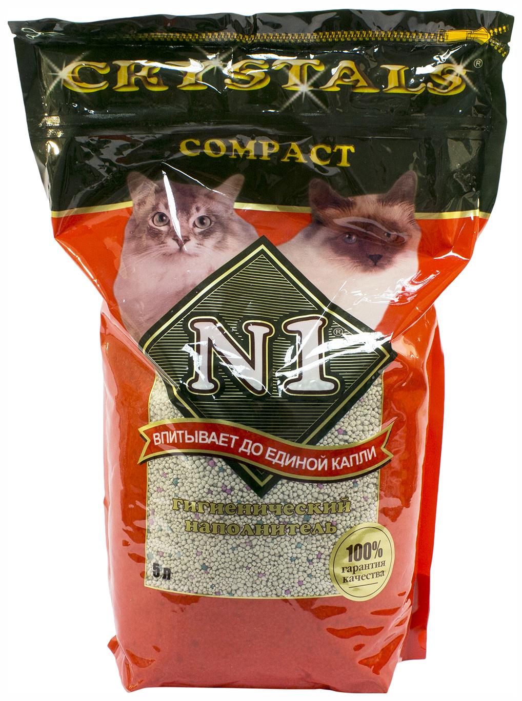 Наполнитель N1 Crystals комкующийся 5 л 4.21 кг без запаха